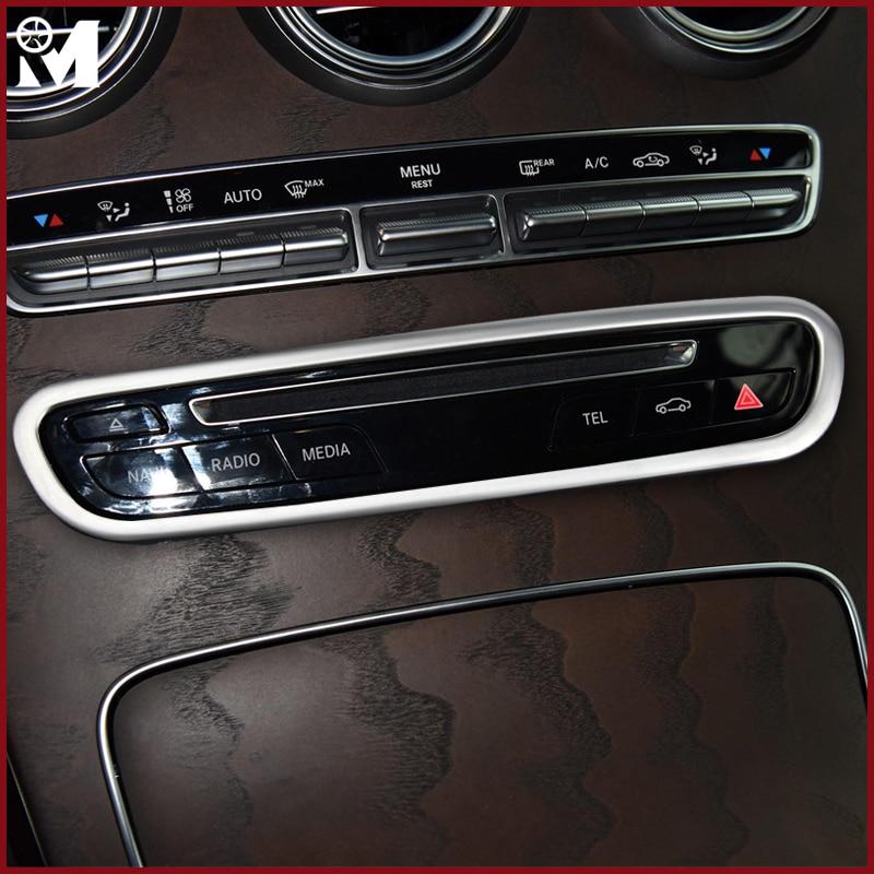 Auto Interior Accessories Car-Styling ABS Chrome Car Center Control CD Button Decoration Sticker For Mercedes Benz C W205 GLC