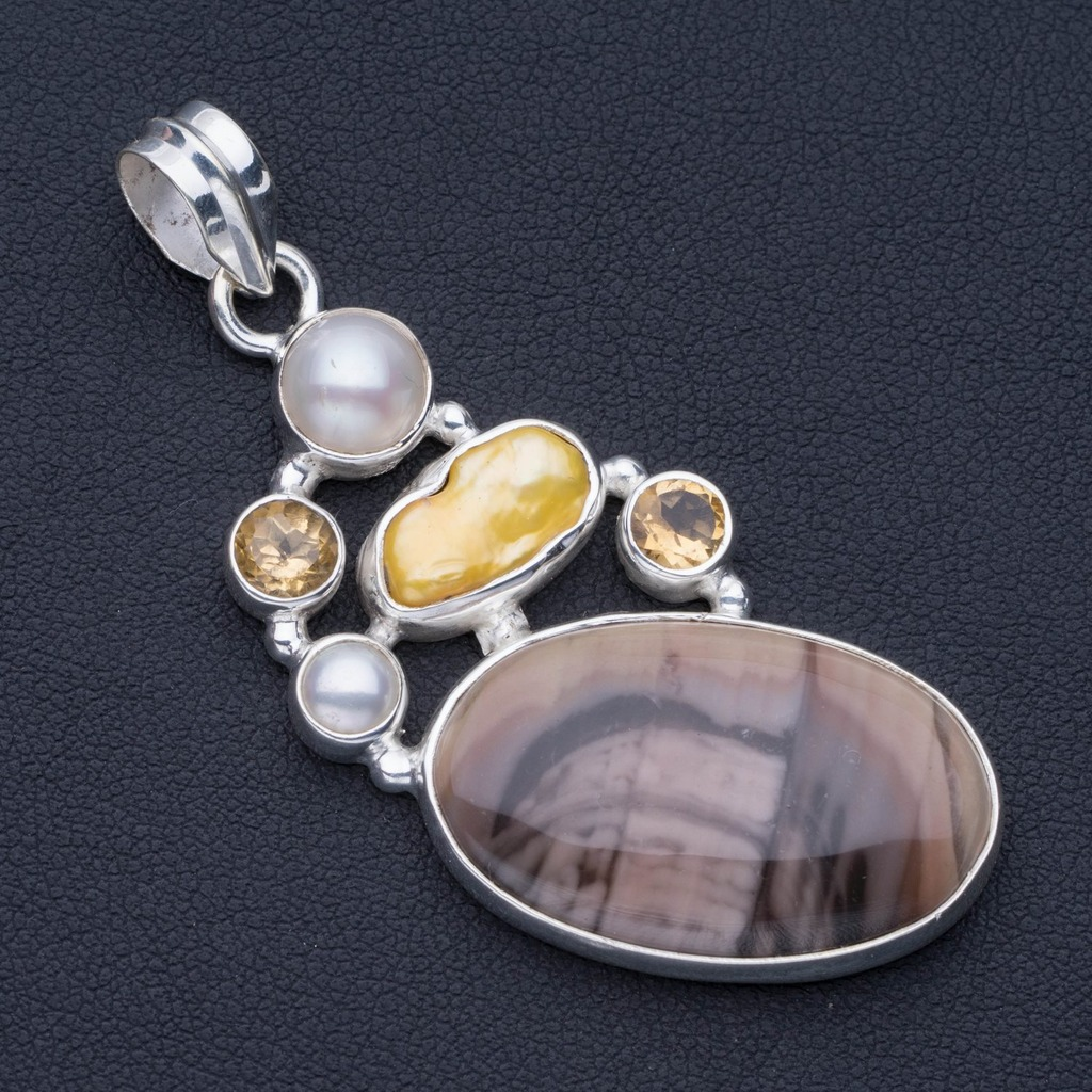 Imperial Jasper,Biwa Pearl,River Pearl Citrine Punk Style 925 Sterling Silver Pendant 2 1/4 P0892Imperial Jasper,Biwa Pearl,River Pearl Citrine Punk Style 925 Sterling Silver Pendant 2 1/4 P0892