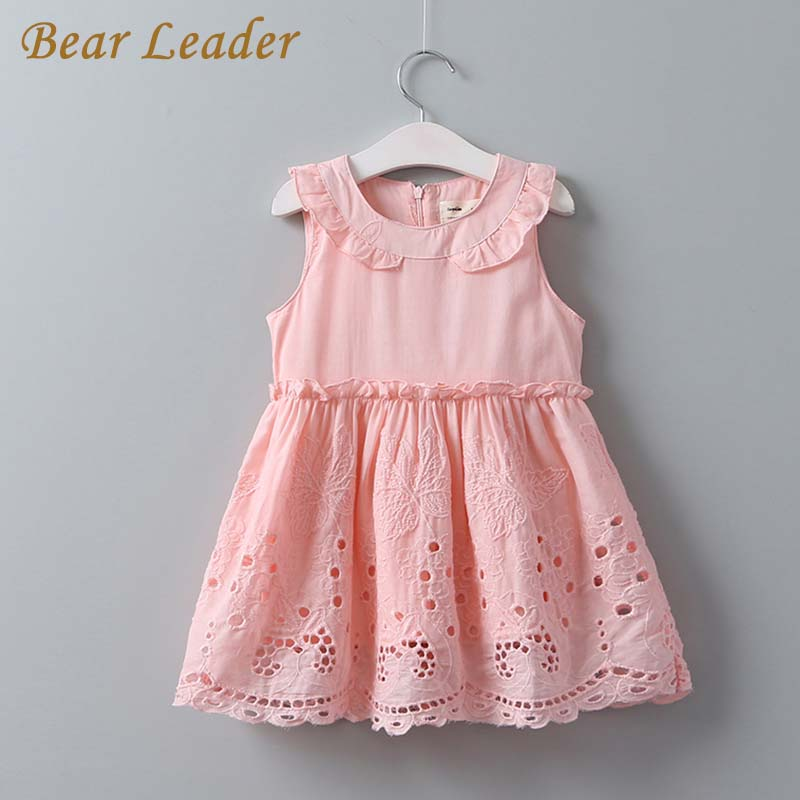 Bear Leader Girls Dress 2017 New Summer Princess Dresses Kids Clothes Hollow Artwork Dress Pink Color Sleeveless Girl Dress 3-9Y bear leader girls dress 2016 new summer style party dress stella the swallow embroidered sleeveless dress girls princess dress