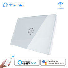 Wifi Smart light Wall Switch Touch Crystal  Glass Panel US standard smart life APP Remote Control works with Alexa Google Home