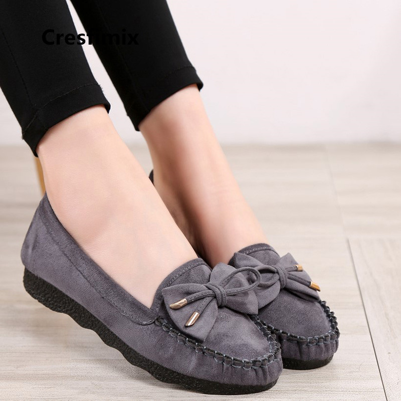 купить Cresfimix women fashion high quality grey flock slip on flat shoes lady cute spring & summer black shoes retro dance shoes a2030 онлайн