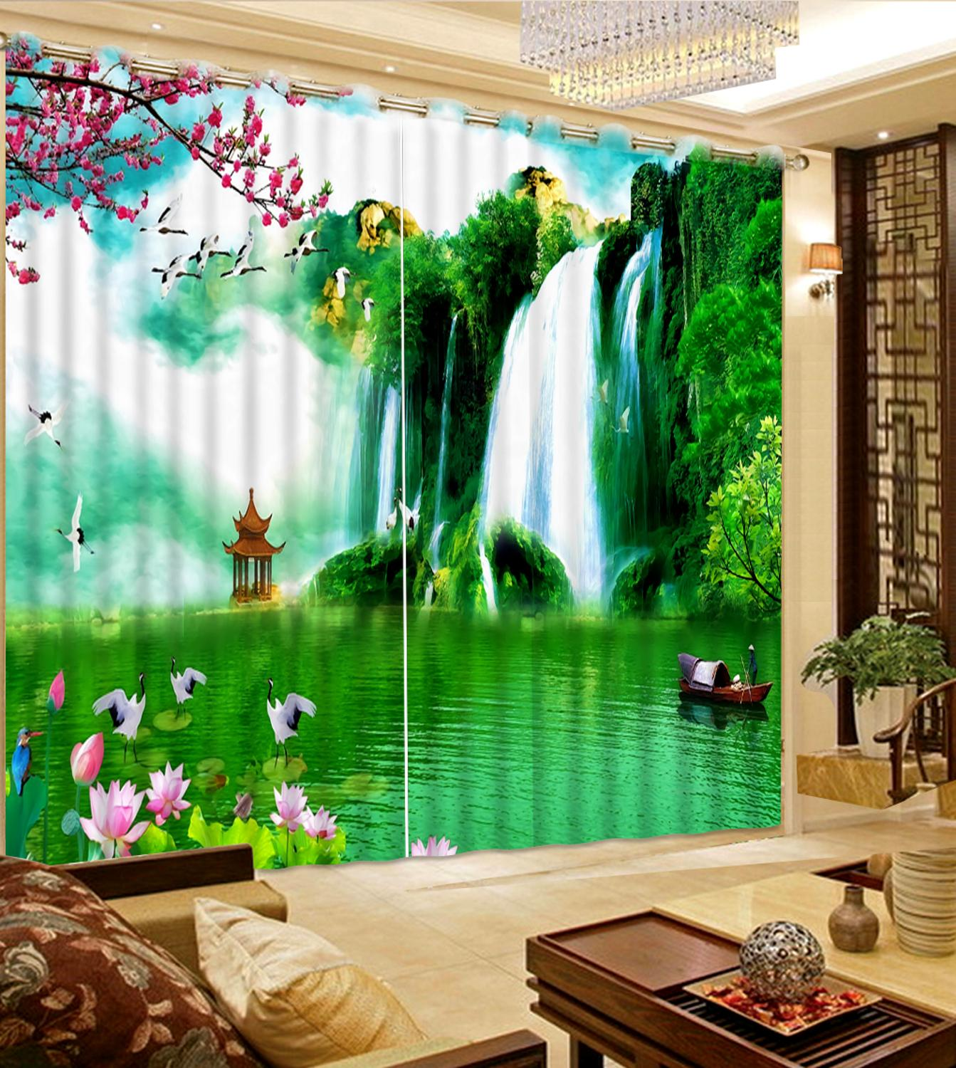 customize landscape Waterfall windows curtains for living room bedroom high quality curtain modern window curtainscustomize landscape Waterfall windows curtains for living room bedroom high quality curtain modern window curtains