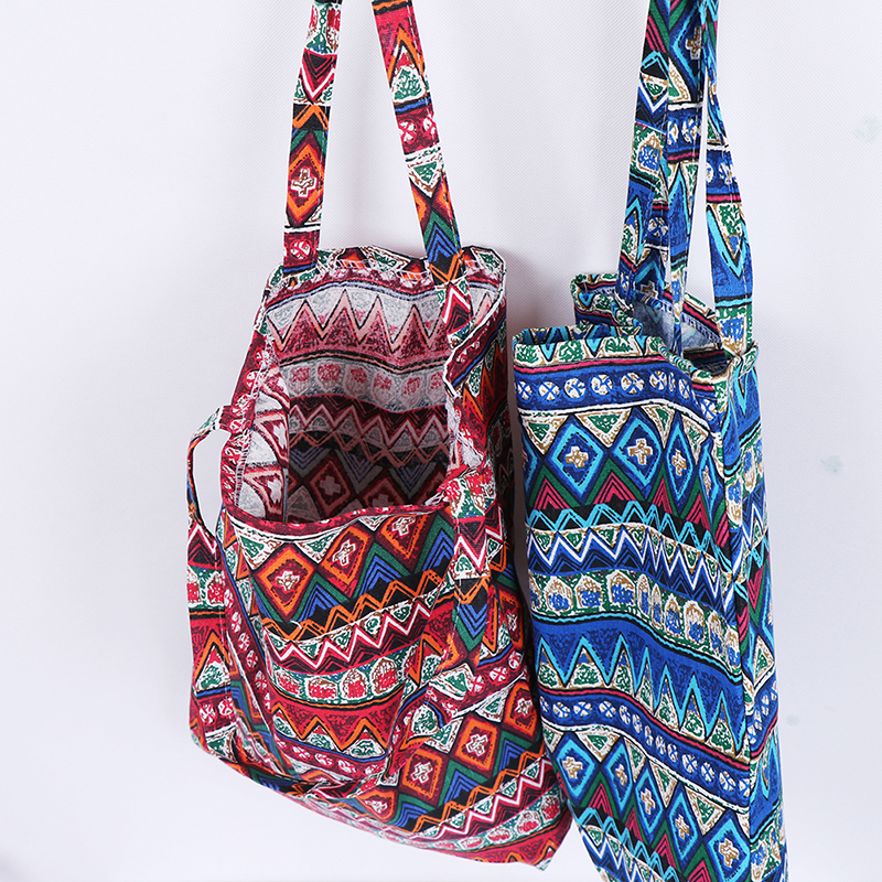 Ethnic Style Linen Bag Tote ECO Shopping Outdoor Canvas Shoulder Bags