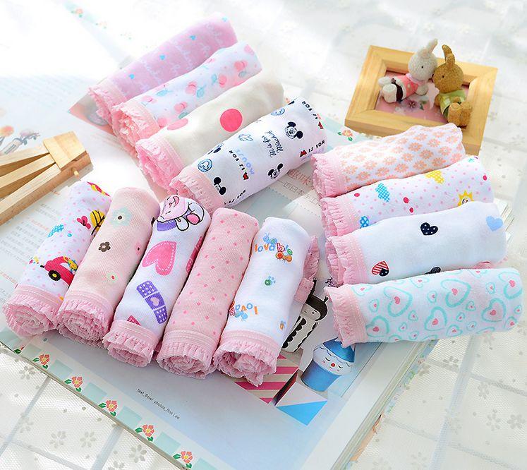 10 pieces/lot Girls Cotton Panties Baby Underwear Kids Short Briefs Children shorts Underpants