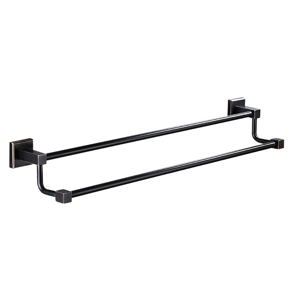 AUSWIND Modern Black Double Towel Holder Solid Brass Square Base Towel Rack Wall Mounted Towel Rack Bathroom Accessories aluminum wall mounted square antique brass bath towel rack active bathroom towel holder double towel shelf bathroom accessories
