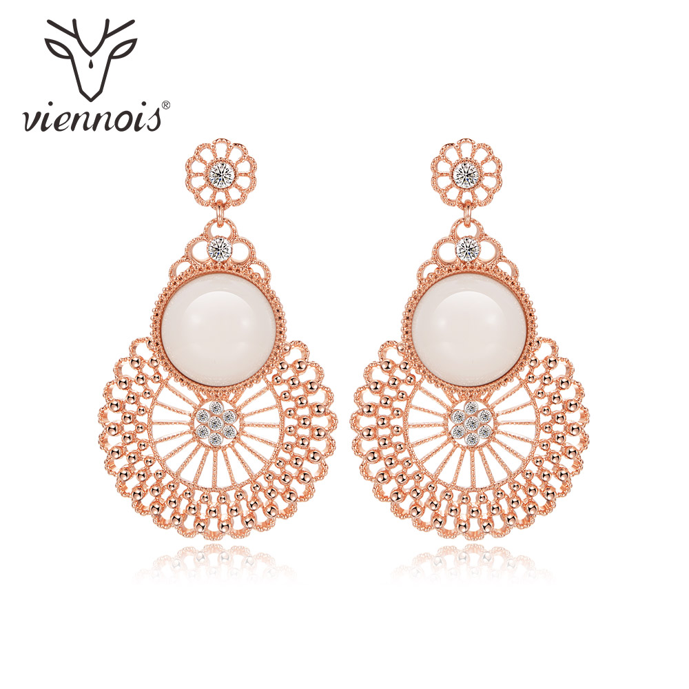 Viennois Exquisite Resin Dangle Earrings for Women Rose Gold Color Baroque Style Drop Earrings Female Jewelry