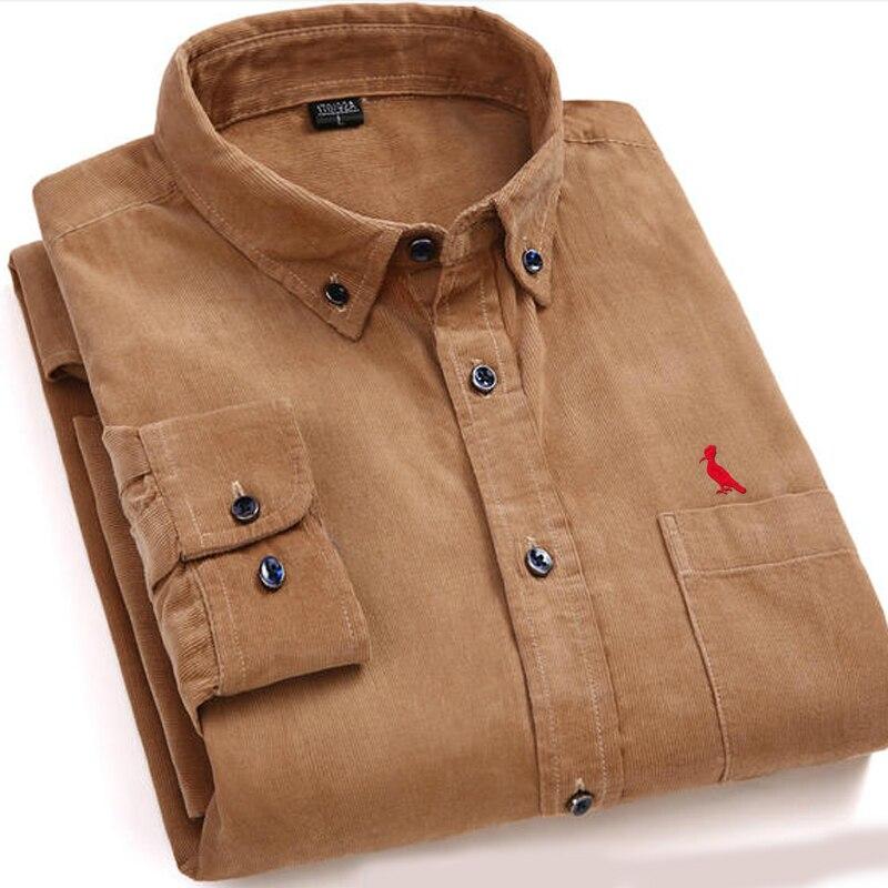 Dudalina 2017 New Arrivaly High Quality Corduroy Mens Shirts Long Sleeve Shirt Casual Plaid Mens Dress Shirts Camisa Masculina