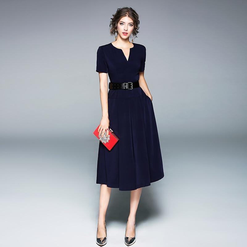 c3eac5fc40 Manches Maxz La Femme Pour Robes Courtes longueur Genou Robe V cou Bleu  D'été vTnFfAT