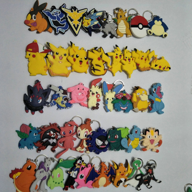 cartoon-font-b-pokemon-b-font-keychain-pvc-keyring-cosplay-poochyena-snorlax-psyduck-bulbasaur-squirtle-cute-funny-novelty-accessories-llavero