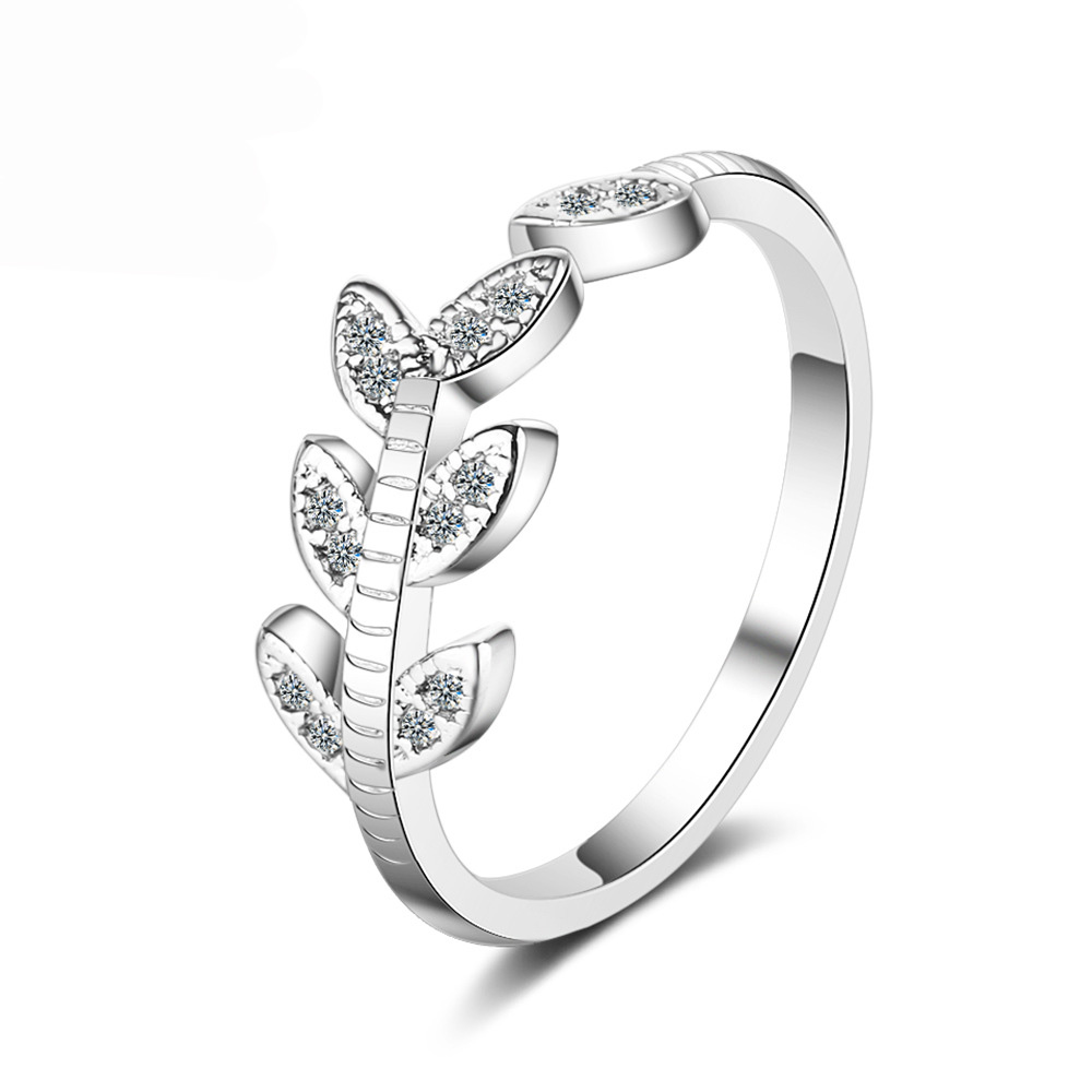 leaves adjustable rings silver jewelry (3)