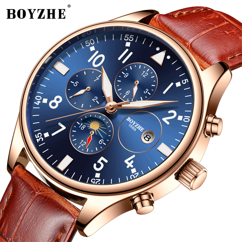 BOYZHE Mens Automatic Mechanical Watch Luxury Brand Waterproof Calendar Luminous Hands Leather Sports Watches Relogio Masculino