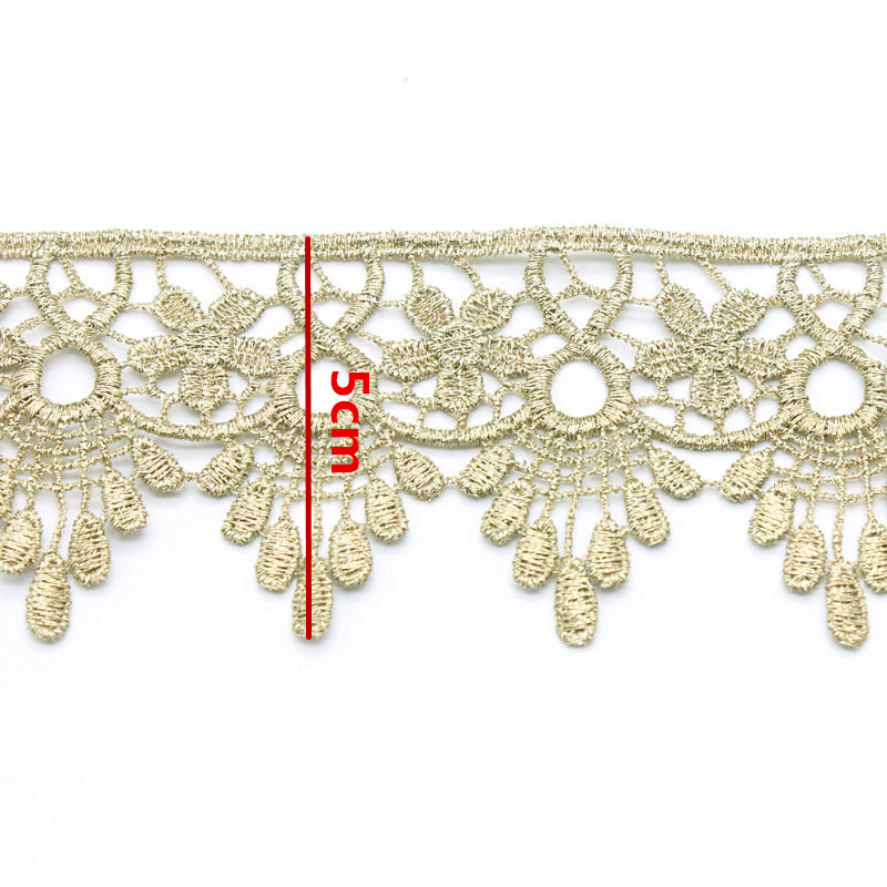 Retro Gold and Silver Lace Ribbon Curve Lace Fabric Embroidery Lace Wedding Craft DIY Curtain Clothes Accessories Home decor in Lace from Home Garden