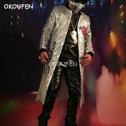 2018 Новая мода серебристыми блестками длинное пальто костюмы для ночного клуба певец DJ парикмахер сценические костюмы Танцы show Одежда