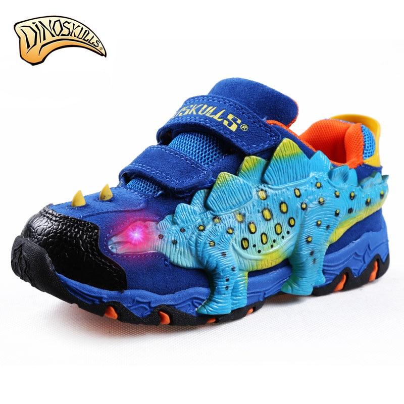 Dinoscrânios meninos tênis luminosos de couro genuíno crianças tênis incandescente light up led sapatos meninos 3d dinossauro piscando tênis