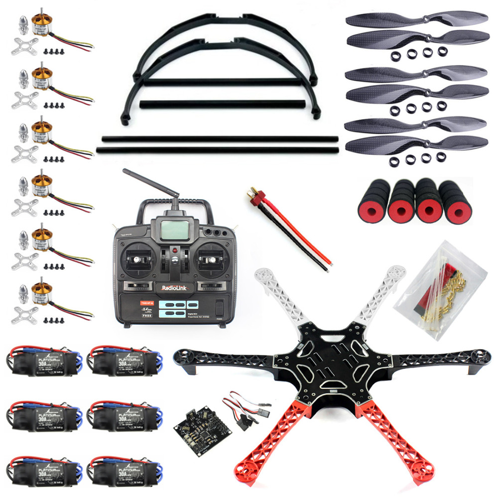 F05114-W F550 Drone FlameWheel Kit With KK 2.3 HY ESC Motor Carbon Fiber Propellers RadioLink 6CH TX RX+Tall Landing Skid PTZ diy fpv mini drone qav210 zmr210 race quadcopter full carbon frame kit naze32 emax 2204ii kv2300 motor bl12a esc run with 4s