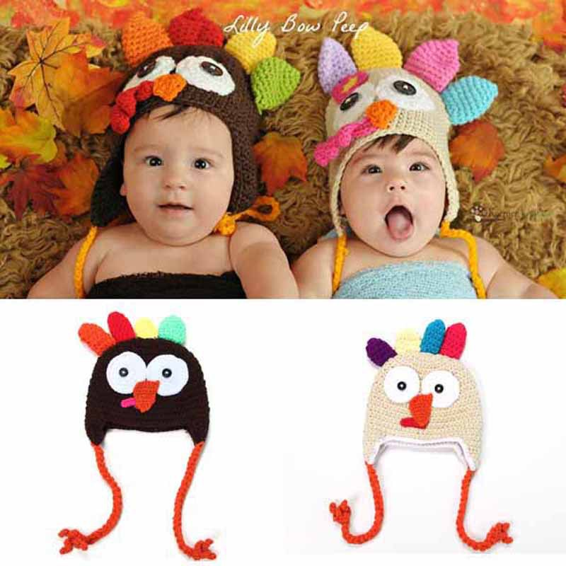 Baby Crochet Turkey Hat Thanksgiving Hat Newborn Animal Photo Prop Handmade Baby Earflap Beanie Cap 1pc H168