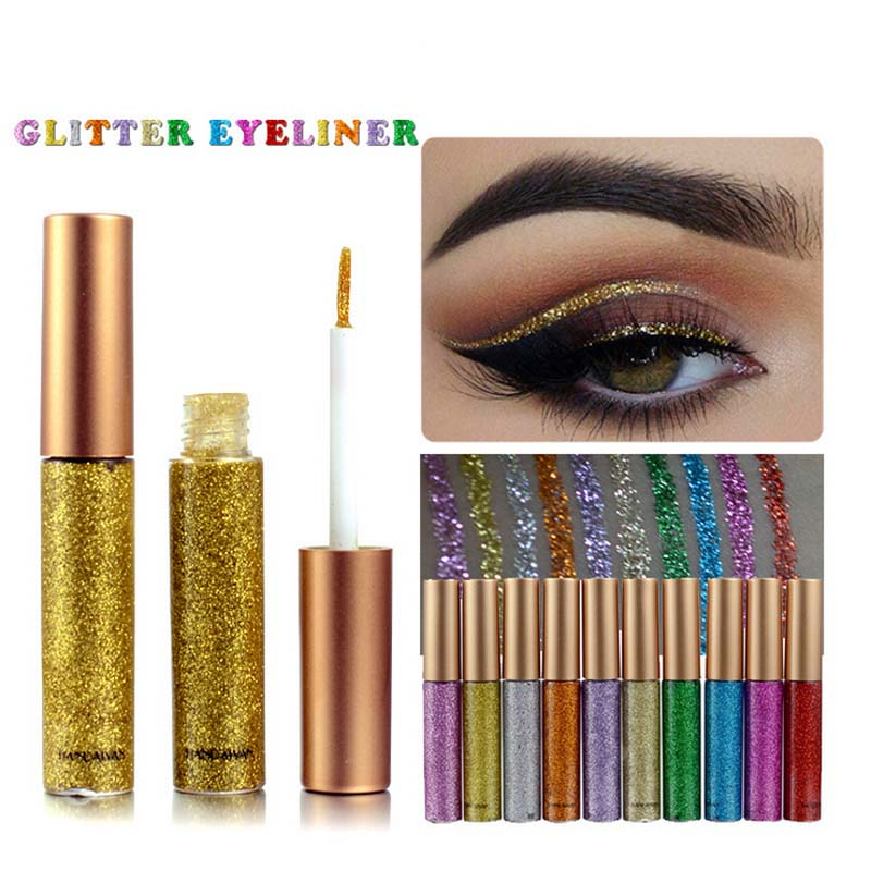 Makeup Eyeliner Liquid Long Lasting Waterproof Shimmer Eyeshadow Golden White  Shining Delineador Glitter Eye Liner Cosmetics