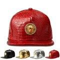 Novo estilo de couro pu ouro mesuda coroa snapback chapéu das mulheres dos homens bonés de beisebol 50 cent strass crocodilo mmg hip hop chapéus