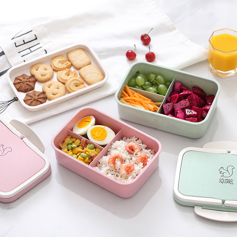 ONEUP Lunch box Wheat straw Cartoon bento box Portable Eco-friendly food storage container for kids students school Microwavable