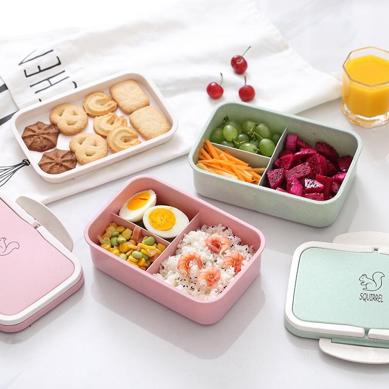 ONEUP almuerzo paja de trigo dibujos animados bento caja portátil ecológico contenedor de almacenamiento de alimentos para niños estudiantes escuela para microondas