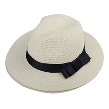 Vintage Summer Fefdora Straw Hat Men Black Fedora Hat Gentlemen White Straw Panama Hats Large Brim