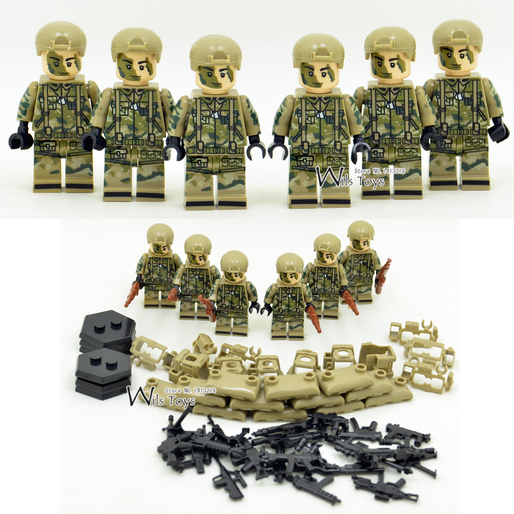 Buy 6pcs Armed Forces Army Military Swat Seals Store Special Soldiers Ww2 Navy Team Building Blocks Figures Educational Toys