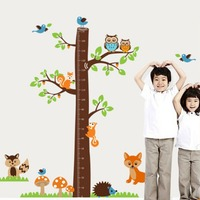 Large Owl Squirrel Bird Cartoon Height Measure Wall Stickers Animal Tree For Kids Rooms Growth Chart