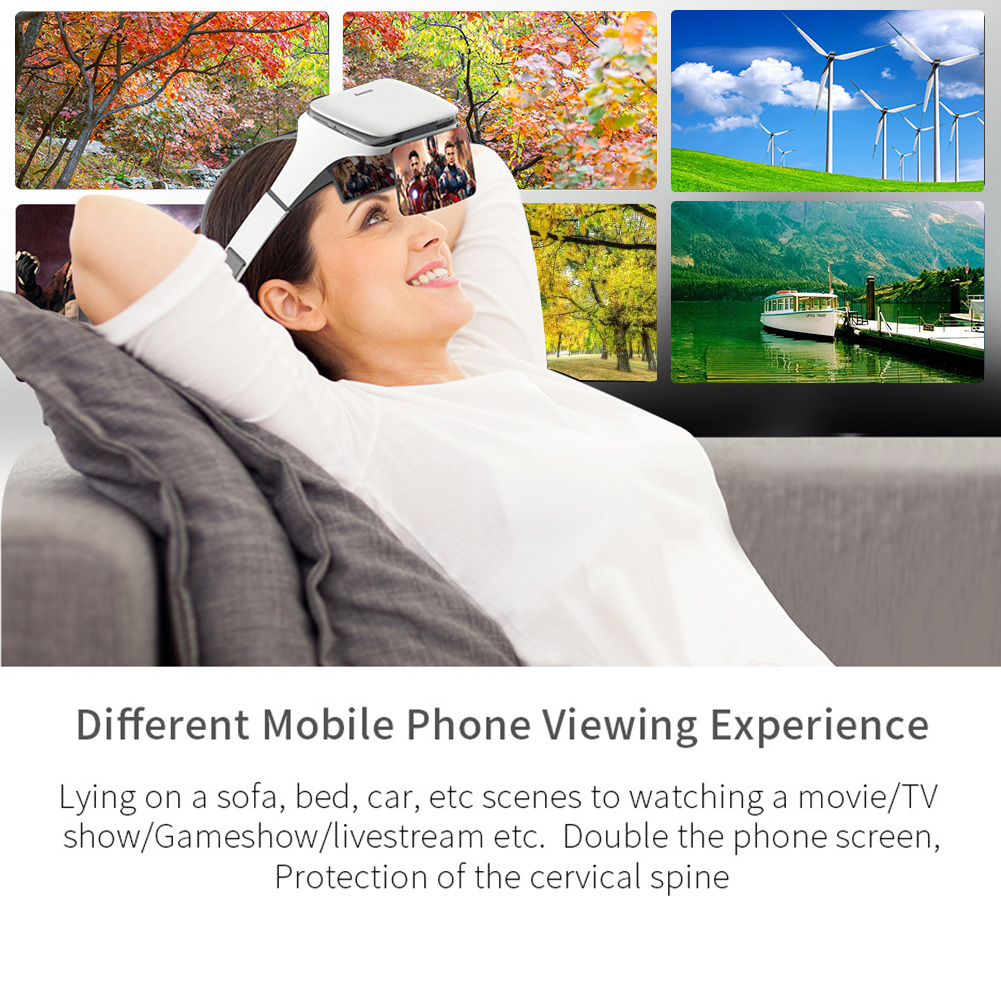 no dizziness augmented reality ar 3d glasses headset hd with phone holder and screen magnification