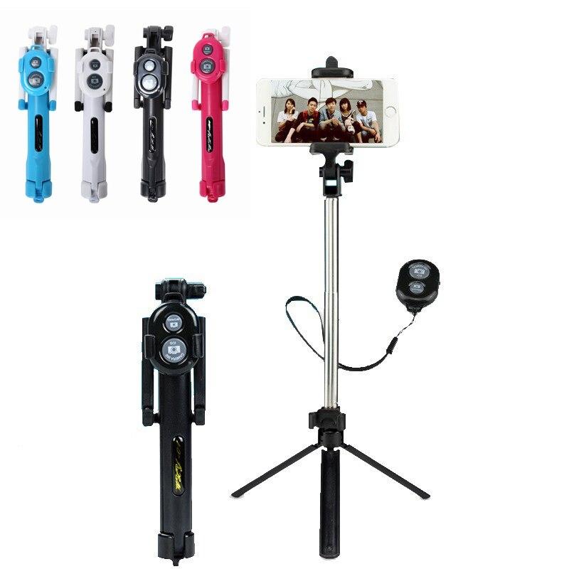 Portefeuille plegable Selfie SelfieStick Bluetooth para Samsung iPhone 7 8 soporte De teléfono trípode Pau De Palo Selfie