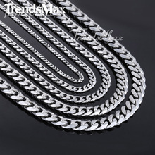 Trendsmax Fashion 3/5/7/9/11mm Wide Necklace Curb Cuban Link Silver Color Stainless Steel Necklace Mens Chain Jewelry KNM07