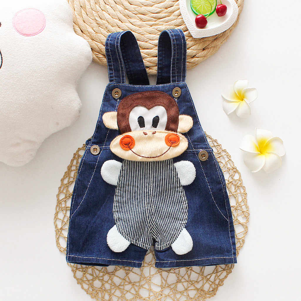 Cartoon Baby Boy Clothes Denim Pants Elastic Waist Casual Printed Toddler Pants Girls Trousers Children's Jeans for 0-3T Unisex