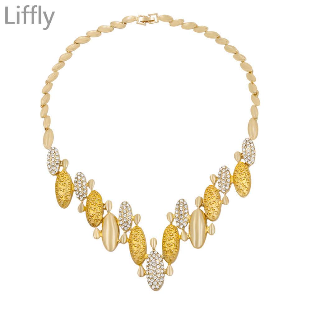 Liffly Дубай Креативный дизайн 18 Золотые Ювелирные наборы кристалл ожерелье браслет серьги, ювелирные изделия Шарм Свадебный подарок ювелирные изделия