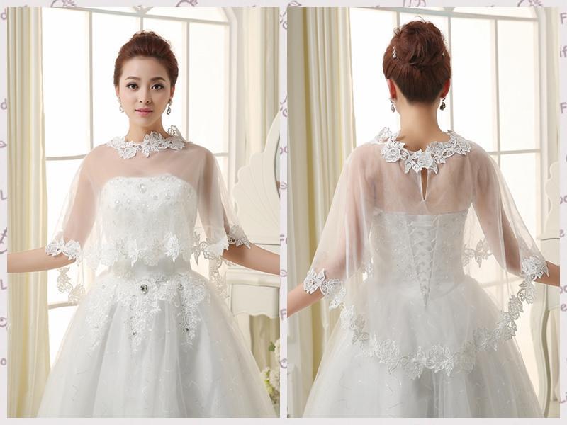 Stunning Bridal Capes 2016 White Wedding Jacket Simple