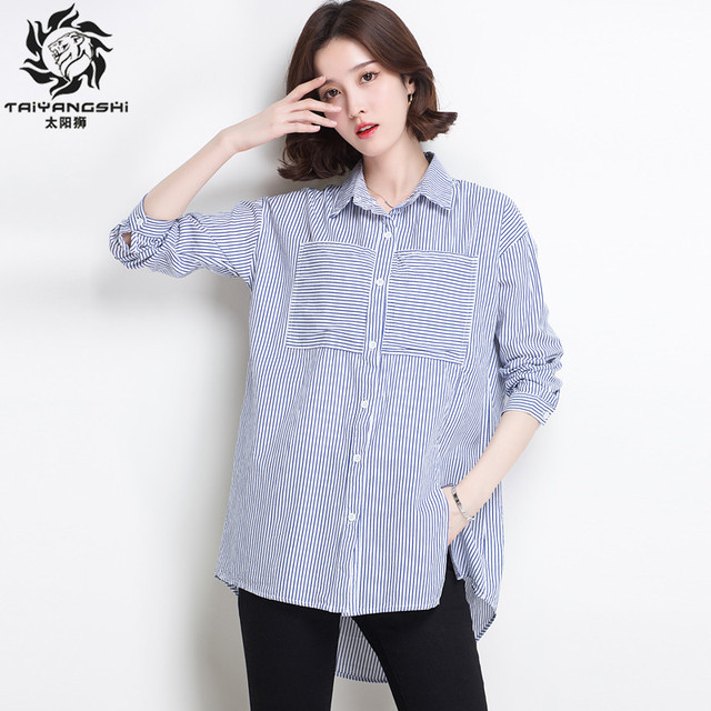 234567a26b22 Blouses Women Shirt Blue And White Ladies Top Shirt Women Chemise Cotton  Stiped Shirt Womens Tops Lapel Casual Blouse Shirts