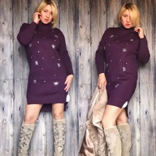 Fashion new bright diamond pullovers  sweater dress women