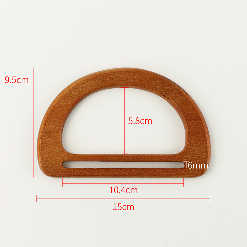 2PCS Fashion Wooden Bag Purse Handles Retro D Ring Handle Frame For Women Wallet Bags Buckles DIY Bag Accessories in Buckles Hooks from Home Garden