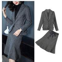 Hot Elegant Ruffle Office Uniform Skirt Suit Autumn Full Sleeve Blazer Jacket+Skirt 2 Pieces Female Work Skirt Suits BSQ08