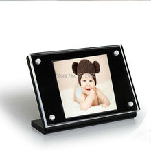 (Pack/2units) 6inch Counter Slanted Acrylic Sign Holder with Black Acrylic Base ADS014-1