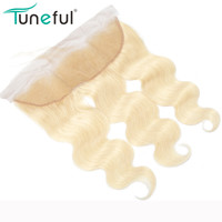 613 Russian Blonde Frontal Closure Body Wave Light Brown Swiss Lace 100% Remy Human Hair Pre Plucked 613 Frontal
