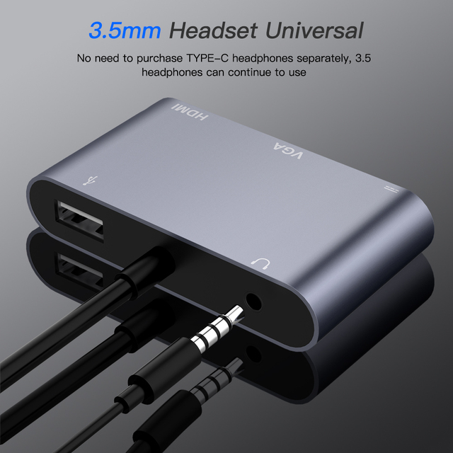 Typ C Adapter 5-in-1 Thunderbolt 3 Hub USB typu C do HDMI VGA 3.5mm Jack Adapter USB z zasilaniem typu C dla MacBook Pro