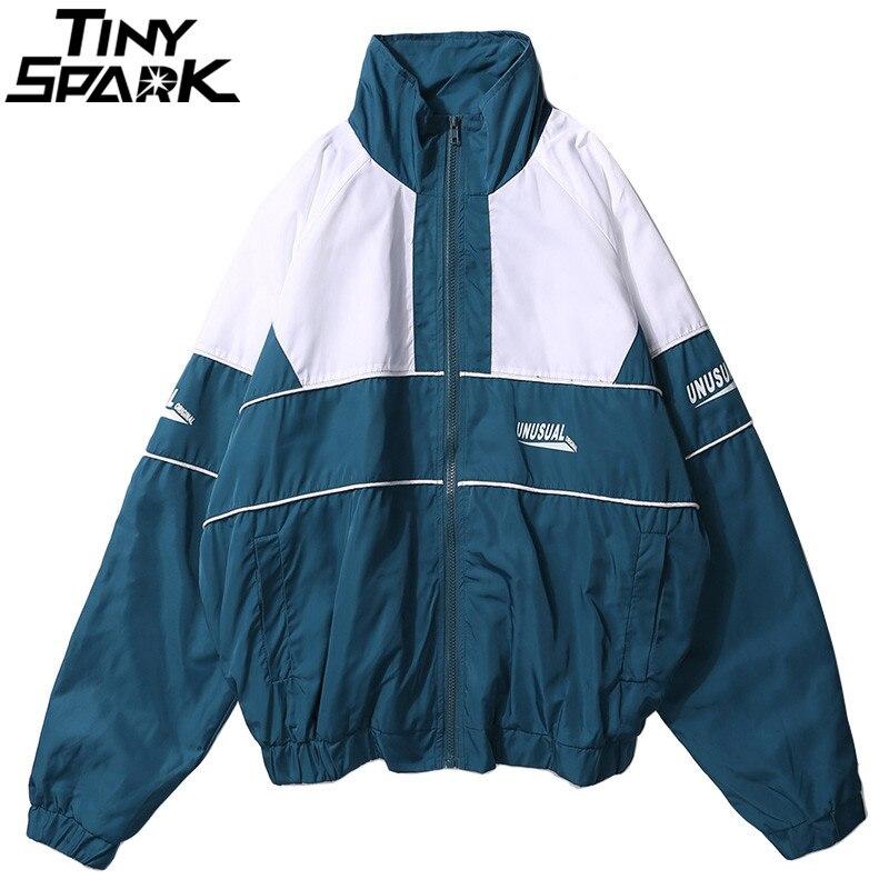 Detalle Comentarios Preguntas sobre 2018 otoño Hip Hop chaqueta de gran  tamaño Harajuku Color Block chaqueta abrigo Vintage Zip Track chaqueta  rompevientos ... d00cde6dfe6