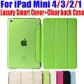 Новейший Роскошный Стенд кожа Case Для ipad mini 4/3/2/1 Смарт Обложка Прозрачный ясно назад Case Для iPad Mini 4 3 2 1 НЕТ: IM301