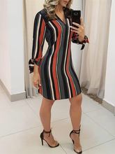 Summer Brief Asymmetrical V-Neck Casual Dresses Ladies Office Style Work Elegant Striped Tassels Insert Tie Sleeve Shirt Dress недорого