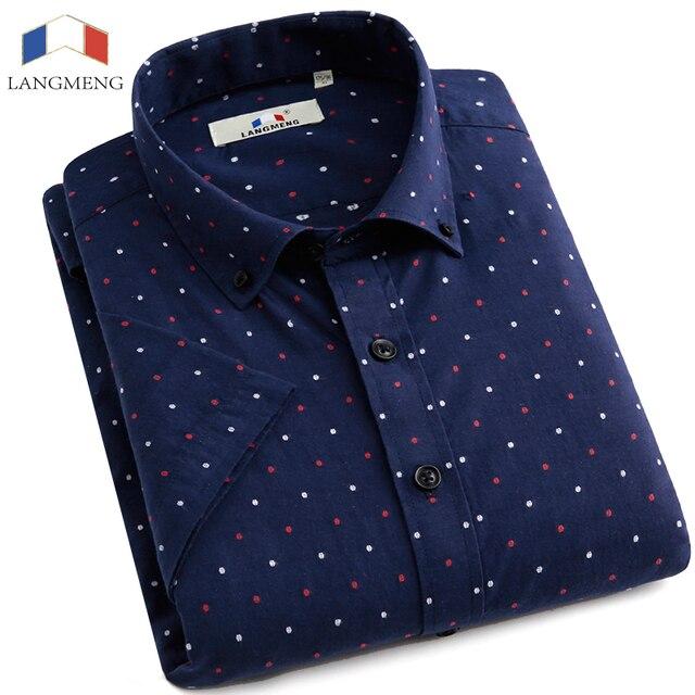 LANGMENG Brand New Fashion 100% Cotton Mens Dress Shirts Male Short Sleeve Casual Shirt Men Dyed Dot Camisa Masculina