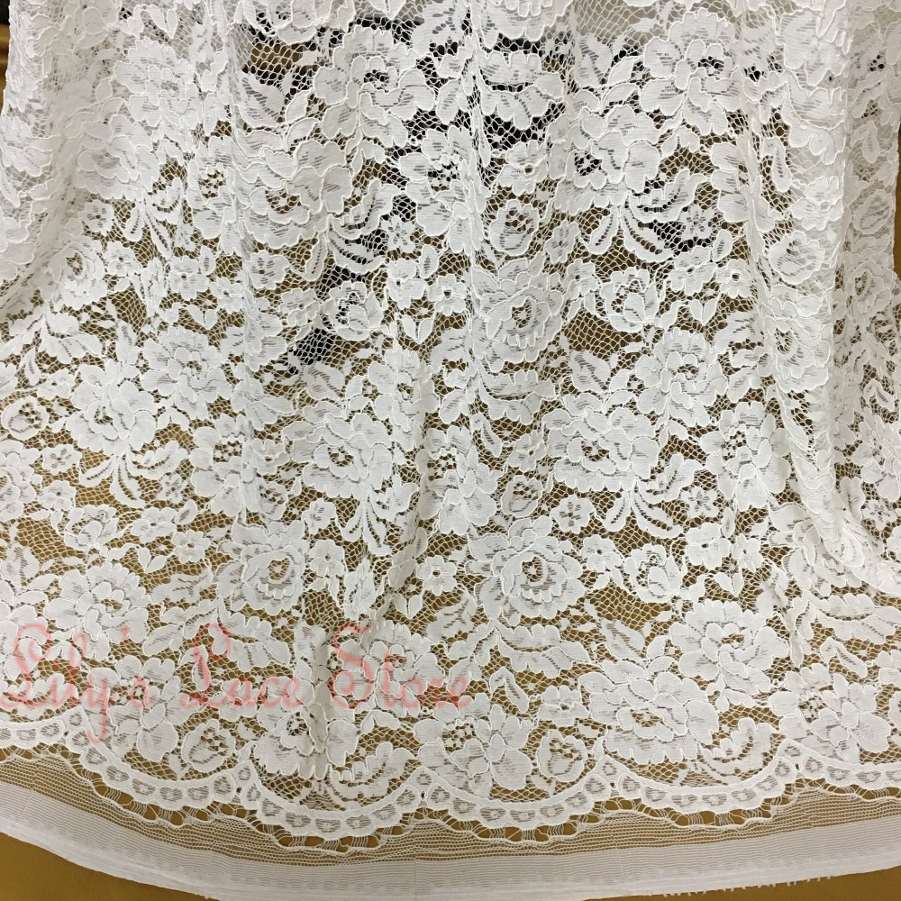 Allover floral wedding gown lace scallop edged chantilly for French lace fabric for wedding dresses