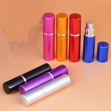 25 pçs/lote 5ml 10ml Bomba de Aspersão de Frasco de Perfume Atomizador de Alumínio Liso de Metal Interior do Frasco de Vidro Vazio Frasco de Spray Para O Curso