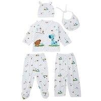 0 3 Month 5pcs Baby Clothing Cute Long Sleeve Animal Print Cotton Newborn Babies Underwear Cap