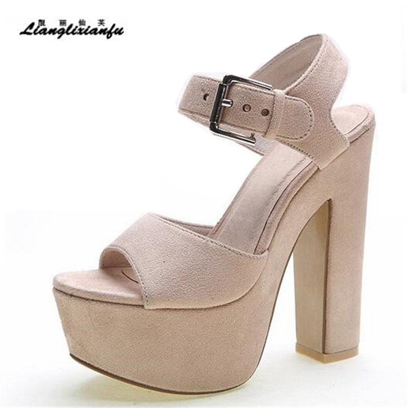 LLXF Summer Sandals Plus:34-40 Stiletto Nightclub Genuine Leather Shoes woman 15cm Thick High-Heeled female Buckle Pumps euro size 34 44 pu woman 15 and 17cm high heels platform sandals nightclub woman high heeled birthday party shoes for t station