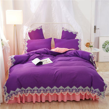 Wedding purple Lace bedding sets full queen king duvet cover princess girls bed skirt Korean bedclothes beautiful quilt cover