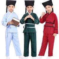 4 Pcs Children Republic Of China Student Costume Boy Hanfu Top Pants Belt Hat Girl Chinese